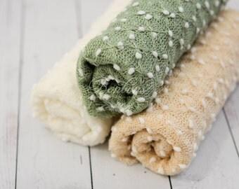 Baby Stretch Wraps RTS, Stretch Newborn Wraps, Stretch Knit Wraps, Baby Photo Props, Baby Girl Wraps, Boy Wrap Sage Green Off White Cream