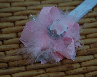 Baby Girl Pink and Silver Crown Bow. Silver Crown Clip, Silver crown headband, Baby Girl Headband