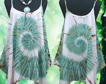 Tropical Retro Spiral Hand dyed Artwork Spaghetti strap Tank Top
