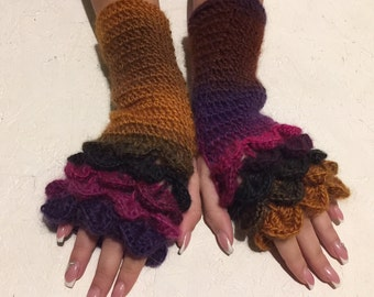 Fingerless Gloves  dragon scale gloves Handmade Wrist Warmers Arm Warmers Mitts Ladies fingerless gloves lacy long mittens womens fingerless