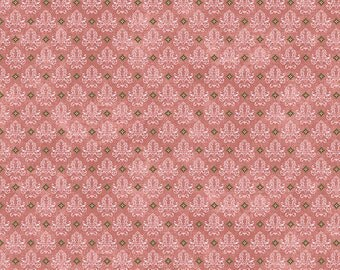 Half Yard Birds of a Feather - Dream Damask in Rose Pink - Cotton Quilt Fabric - Bristol Bay Studios for Benartex Fabrics - 468-01 (W3662)
