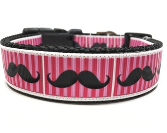Pink Mustache Dog Collar Adjustable