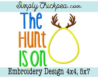 Embroidery Design - The Hunt Is On - Easter - Easter Egg - Appliqué - Deer Antlers - For 4x4 and 5x7 Hoops