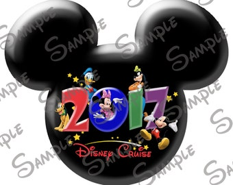 DIGITAL printable Do-It-Yourself Character inspired  Mickey head Disney Cruise file with year 2017