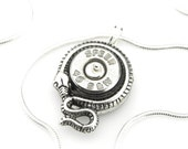Steampunk Serpent Pendant - Edwardian Bullet Necklace - Bullet Jewelry - .40 caliber Speer Bullet Shell Necklace - Steampunk Gift Idea