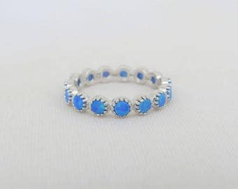 Vintage Sterling Silver Blue Opal Band Ring Size 7