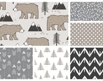 Gender Neutral Crib Bedding - Bear Minky Blanket , Crib Skirt & Sheet in Grey, Black and Taupe