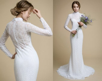 ANNA / long sleeve lace wedding dress mermaid wedding dress white lace dress cotton lace wedding dress with train silhouette wedding dress