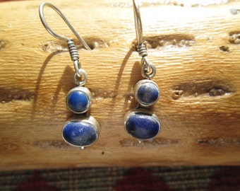 Lapis and Sterling Dangle Earrings