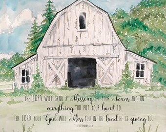 Barn Blessing Printed Canvas