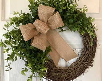 FRONT DOOR WREATH, Boxwood Wreath,Summer Wreath,Outdoor Wreath,Year Round Wreath, Spring Wreath, Grapevine Wreath,Fall/Winter Wreath