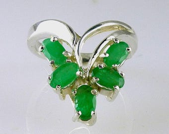 Genuine Colombian Emerald Ring .925 Sterling Silver Size 5 1/2