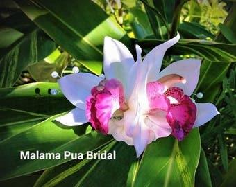 REAL TOUCH White silk orchid, Hair clip, hair flower, Bridal, Hair piece, Wedding Headpiece, Hawaiian, hair accessory, Beach, Fascinator