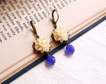 Pastel flowers cottage chic vintage inspired dangling earrings Purple blue Czech glass earrings