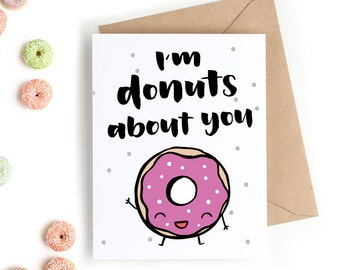 Printable Valentine's Day Card - Donuts About You - PDF Download