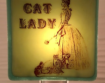 Cat Lady Fused Glass Night Light