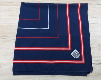 Vintage Retro Germany Rendsburg Navy Blue scarf  red white striped 73cm x 74cm