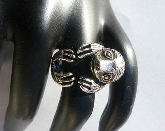 Silver Adjustable Sloth Animal Ring