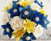 Paper Flower wedding bouquet rose origami kusudama yellow lemon daffodil welsh royal navy blue ivory cream hessian bow vintage elegant theme
