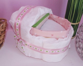 Little Cradle diaper cake, diaper cake for a baby girl, baby gift for birth or baby shower girl, La Marmaille d'Izazou