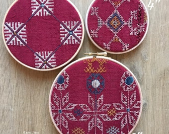 Antique Vintage fabric embroidered hoop art, set of 3, Scandinavian style, embroidery, vintage