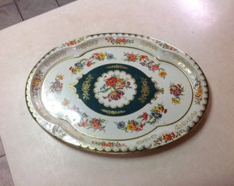 "Vintage 1971 Daher large Victorian style floral tin serving tray England 20"" by 15"""