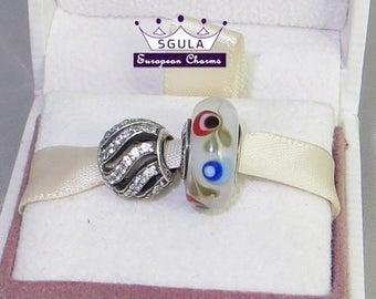 Super Sale! 2 Sterling Silver Charms Winter wisp cz ,Folklore glass 2 European Beads fit Pandora Charm Bracelet & European Bracelets
