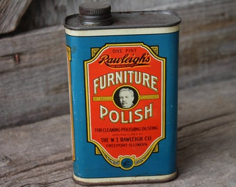 Rawleighs Furniture Polish Tin - W. T. Rawleigh Co. Freeport, Illinois