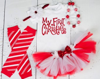 BABY GIRL 1ST CHRISTMAS Outfit,My First Christmas Bodysuit,Baby Girl Christmas Tutu,Girl 1st Christmas,Girls Christmas Outfit MFC01