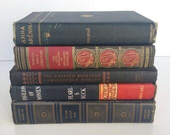 vintage books bundle, set of 5, navy, red vintage books