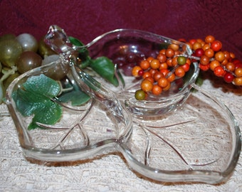 Hazel Atlas Clear Glass Maple Leaf Divided 3 Part Relish Tray