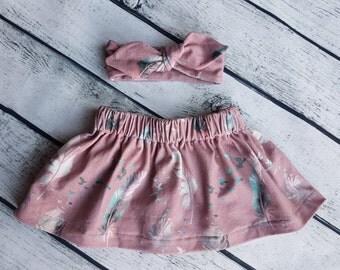 Baby Girl Skirt & Matching Knot Headband 0-3 3-6 6-9