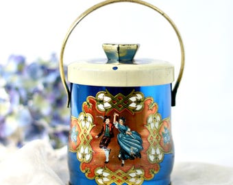 Vintage Tin Canister - Blue Bavarian Dancers Handled Round Container Murray Allen Confections - Made in England