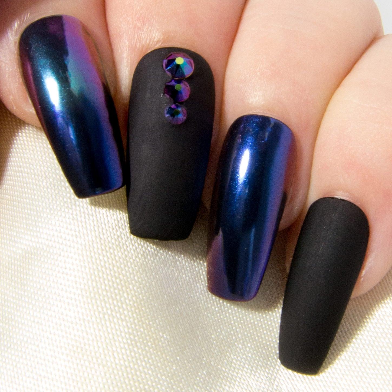 Matte Black & Chrome Nails Ombre Mirror Nails Coffin False