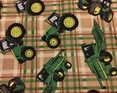 John Deere Cotton Brown Plaid Fabric By the Yard |  Tractor Fabric | Farm Cotton Sewing | Licensed John Deere | Boy nursery Fabric