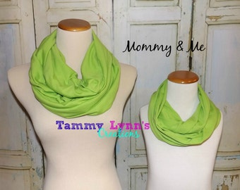 Mommy & Me Apple Green Cotton Jersey Knit Infinity Scarf Girls Women's Accessories