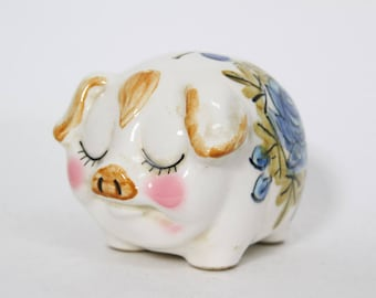 "Adorable 4"" Tall Kitsch Piggy Bank, with Blue Flowers"