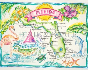 Florida Map Watercolor