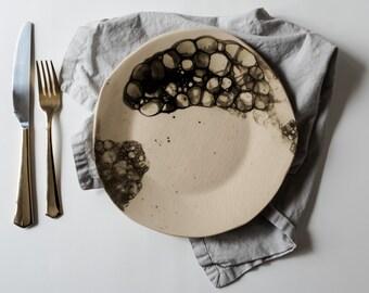 Set of 2 Handmade organic bubble glaze dinner plate