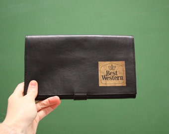 Vintage Travel Wallet [Small Best Western Retro Wallet Black Passport Tickets File Coupon Holder] 9 inches by 6 inches