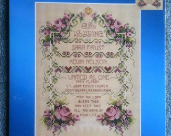 Janlynn Wedding Sampler Counted Cross Stitch Kit United as One Wedding Gift Multi Lingual Instructions New Kit Unopened Kit B40