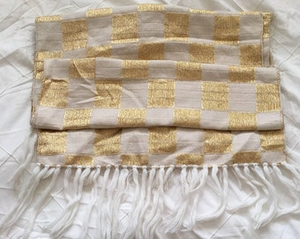Vintage gold and white checked shawl with tassles