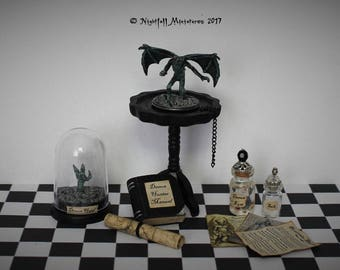 Dollhouse Miniature Supernatural  Demon Trophy Hunter with Demon Specimen and Demon Claw in 1:12 scale