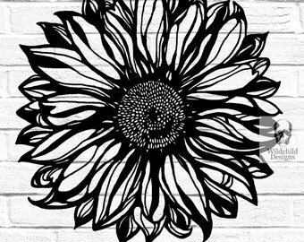 Sunflower Paper Cutting Template for Personal or Commercial Use Papercut Cut Wildchild Designs Natural Nature Leaves Flower Spring Summer