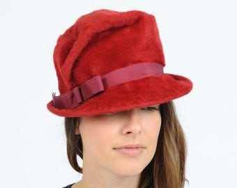 Vintage Ruby Red Mohair Cloche Hat Evelyn Varon Exclusive