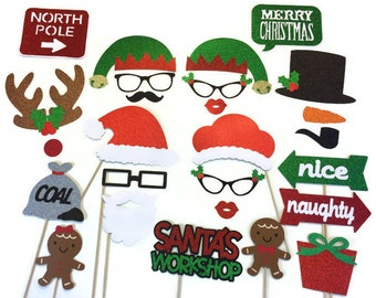 Christmas Photo Booth Props- 26 Piece Set- Holiday Photo Booth with Glitter - Photo Booth