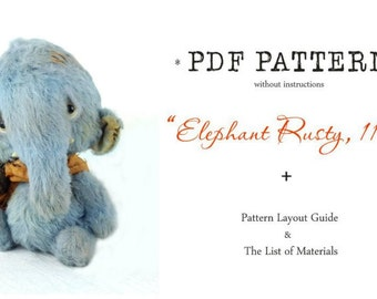 PDF Teddy Bear PATTERN Elephant 11 cm without instructions by Anna Galli