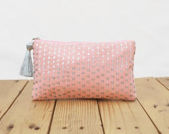 """Blush pouch, stone washed clutch, bridesmaid purse, silver sequin bag , bohemian, size 5""""X9"""""""