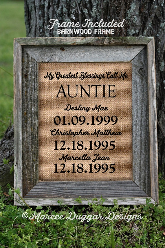 Framed Christmas Gift for Aunt | Auntie | Personalized Gift For Auntie | My Greatest Blessings | GiGi Nanna Granny | Burlap Print | 226