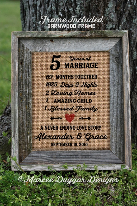Framed 5th Wedding Anniversary Gift | Love | Valentines Day | Personalized | Burlap | Parent's Anniversary Gift | Grandparent Gift | 258
